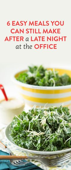 Photo: 6 Easy Meals to Make on Those Nights You're Stuck Super Late At the Office I Love Food, Good Food, Yummy Food, Tasty, Kale Caesar Salad, Kale Salads, Clean Eating, Healthy Eating, Healthy Food