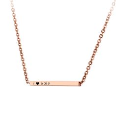 Personalized Bar Necklace Rose Gold Stainless Steel Custom Jewelry  #personalized #rosegold #bar #necklace #jewelry