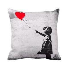 'Girl with Balloon' Gray London Banksy Throw Pillow - Walmart.com