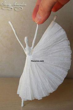 "DIY Napkin Paper Ballerina inspired by Edgar Degas's ""Little Dancer"" - Artisanat de Serviettes de Papier Cute Crafts, Diy And Crafts, Crafts For Kids, Arts And Crafts, Upcycled Crafts, Felt Crafts, Diy Paper, Paper Crafting, Tissue Paper Crafts"