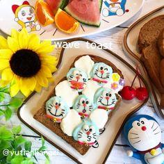 さらにかわいくなった!あの「 #ウェーブトースト 」に人気キャラクターがひょっこり #おうちごはん Fun Food, Food Art, Good Food, Sweet Sweet, Bento, Toast, Moon, Bread, Plates