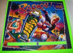 RADICIAL By BALLY 1990 ORIGINAL NOS PINBALL MACHINE TRANSLITE BACKGLASS SHEET #ballyradical #radicalpinball #pinballartwork