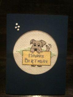 Cross Stitch Dog Birthday Card