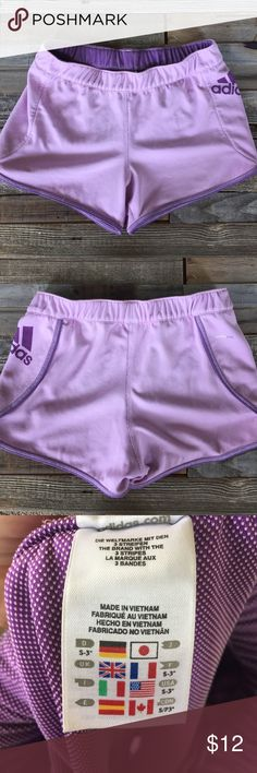 ADIDAS CLIMALUX ATHLETIC SHORTS Lilac exterior with purple logo and interior. Perfect condition! adidas Shorts