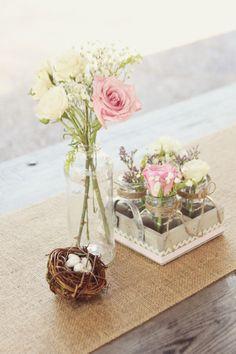 Rustic Chic Babyshower. Glass jars, lace, bird and burlap details. Feminine & classic.