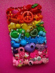 Rainbow charm jewel deco iphone 4 case Decoden