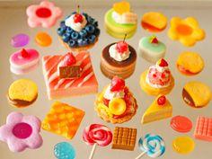 スイーツデコパーツ(H126) 25個入り フルーツタルト、苺ケーキ、ミニケーキ、クッキー他