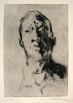Frank Hobbs: Head study, drypoint, 5 x 3 in. Drypoint Etching, Etching Prints, Cardboard Art, Character Sketches, Creepy Art, Portraits, Art Reference Poses, Drawing Techniques, Figure Drawing