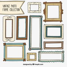 Vintage frames collection in hand drawn style Free Vector