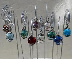 Spiral Table Number, Photo or Card Holders, Plant Picks, in Silver/Steel with Wire Wrapped Glass Mar