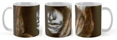 Gregorian Monk on Mug by Imogen Smid - Inspired by The Monk by Matthew Lewis, Redbubble, Interior Design, Gothic Decor, Mezzotint Print, Sepia, Brown