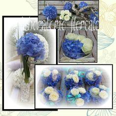 centrotavola per matrimonio con rose bianche e ortensie blu
