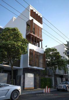 Narrow House Designs, Modern Exterior House Designs, Exterior Design, Bungalow House Design, House Front Design, Small House Design, Modern Townhouse, Townhouse Designs, Japanese Modern House
