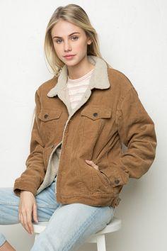 Brandy ♥ Melville | Elisha Fur Corduroy Jacket - Jackets - Outerwear - Clothing