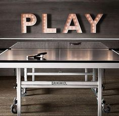RH's Brunswick Indoor/Outdoor Tournament Table Tennis:Originally an parlor game of the British upper class, Garage Game Rooms, Game Room Basement, Basement Ideas, Basement Plans, Playroom, Basement Designs, Basement Bathroom, Garage Ideas, Indoor Outdoor