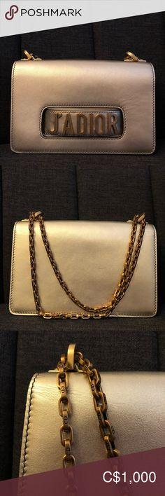 J'adior Flap Bag in Calfskin Dior Bags, Antique Gold, Wristlets, Christian Dior, Clutches, Shoulder Strap, Smooth, Spring Summer, Handle
