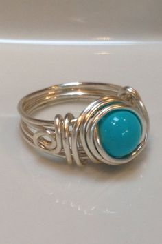 turquoise and silver wire wrapped ring with by OdleCreekChic, $15.00