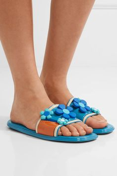 Prada - Floral-appliquéd Rubber Slides - Azure - IT36.5