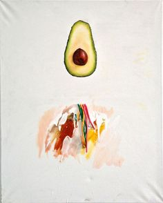"""Avocado,"" original figurative painting by artist Isobel Wood (UK) available at Saatchi Art #SaatchiArt"