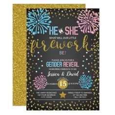 Fireworks Gender Reveal Invitation Firework Gender Reveal Party, Gender Reveal Party Invitations, Baby Gender Reveal Party, Baby Shower Niño, Baby Shower Parties, Shower Party, Shower Games, Zazzle Invitations, Shower Invitations