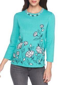 Alfred Dunner Women's Petite Montego Bay Border Floral Sweater - Jade - Pxl