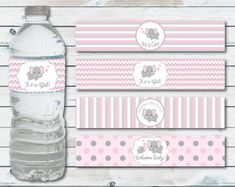 Water Bottle Labels Elephant Baby Shower, Printable Water Bottle Label In Pink And Gray Chevron Elephant, Elephant Baby Shower Decor Baby Shower Clipart, Baby Shower Signs, Baby Shower Printables, Baby Shower Favors, Baby Shower Themes, Shower Ideas, Baby Shower Giraffe, Baby Girl Elephant, Elephant Baby Showers