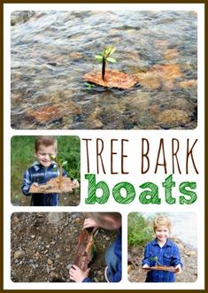 Simple Tree Bark Boats - Pinned by – Please Visit for all our pediatric therapy pins Forest School Activities, Nature Activities, Summer Activities, Preschool Activities, Outdoor Activities, Camping Activities, Family Activities, Outdoor Education, Outdoor Learning
