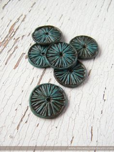 Teal Blue Aster Wheel disc beads  set of 6 by TreeWingsStudio, $12.00