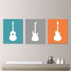 Baby Boy Nursery Art Print – Guitar Nursery Art – Boy Nursery Decor – Rock and Roll Art – Guitar Nursery. Orange Blue Baby Boy Nursery Art Print Guitar Nursery by Nursery Paintings, Nursery Art, Nursery Decor, Room Decor, Nursery Prints, Baby Boy Rooms, Baby Boy Nurseries, Baby Room, Guitar Nursery