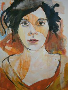 "Saatchi Online Artist richard kuhn; Painting, ""Fashion show -model - size: 25.59 x 19.68 inches "" #art"