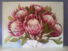The Smosh : May art available Protea Art, Protea Flower, Paintings I Love, Flower Paintings, Painting Flowers, Oil Paintings, May Arts, Floral Drawing, Mini Canvas Art