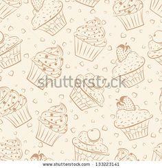 Seamless Pattern Of Cupcakes Stock Vector 133223141  Shutterstock cakepins.com