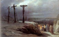 clouds      crosses      golgatha      painting   'Nacht auf der Golgatha' von Wassilij Wassiljewitsch Wereschtschagin