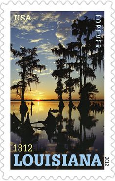 "The Postal Service celebrates the bicentennial of Louisiana statehood with image of Flat Lake Atchafalaya Basin, the largest contiguous river swamp in the United States.The ""Pelican State"" became the 18th state in the Union on April 30, 1812."