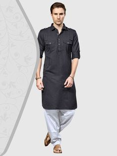 Dashing Dim Grey Pathani kurta crafted on Cotton Silk fabric is teamed with contrast White bottom. This suit is enhanced with fancy buttons and two chest pockets. Pathani For Men, Pathani Kurta, Cotton Silk Fabric, Fancy Buttons, Party Wear, Chef Jackets, Suits, Grooms, How To Wear