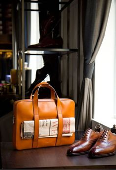 Gentleman's attire - leather bag & brogues by Alfred Sargent 'Hunt'