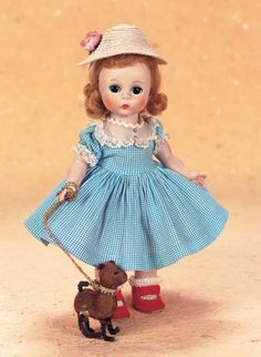 """Playful Art - The Century Doll: 225 American""""Wendy Takes Her Dog for A Walk"""" by Alexander Old Dolls, Antique Dolls, Vintage Dolls, Doll Clothes Patterns, Doll Patterns, Vintage Madame Alexander Dolls, Doll Accessories, Vintage Children, Beautiful Dolls"""