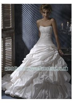 taffeta strapless dropped neckline with rouched bodice and asymmetrical pick up ball gown skirt in fashion adjustable corset designs 2011 hot sell wedding dress wm 0309