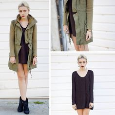 Lamb & Flag Army Jacket, Lamb & Flag Sweater Dress, Lucky Boots, Unearthen Ring