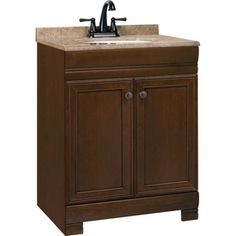 Style Selections Windell 24.5-in x 18.5-in Java Integral Single Sink Bathroom Vanity with Solid Surface Top