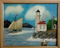 Vtg-16-x-20-Ocean-Scene-W-Lighthouse-Mountains-Oil-Painting-By-JH-Fonseca