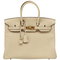 HERMES BIRKIN 35 bag PARCHEMIN w/ Gold hardware Stunning Neutral ❤ liked on Polyvore featuring bags, handbags, purses, bolsas, accessories, hand bags, handbag purse, leather hand bags, genuine leather purse and brown leather bag