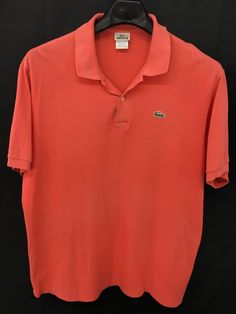 MENS 2XL LACOSTE POLO SHIRT ALLIGATOR PINK CORAL SHORT-SLEEVE CASUAL #Lacoste #PoloRugby