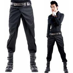 Alternative Black Studded Casual Steampunk Punk Pants Clothing for Men SKU-11404087