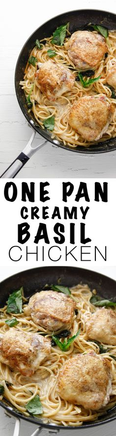 Get ready for an easy dinner with this recipe for One Pan Creamy Basil Chicken and Pasta via @thebrooklyncook Easy Pasta Recipes, Easy Chicken Recipes, Turkey Recipes, Vegetarian Recipes, Easy Meals, Cooking Recipes, Cooking Tips, Cooking Videos, Vegetarian Casserole