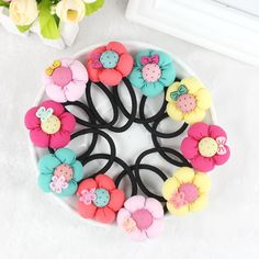 TS 5pcs Pumpkin flowers children baby girls hair accessories rubber bands barrettes girl headwear Retail wholesale Boutique #>=#>=#>=#>=#> Click on the pin to check out discount price, color, size, shipping, etc. Save and like it!