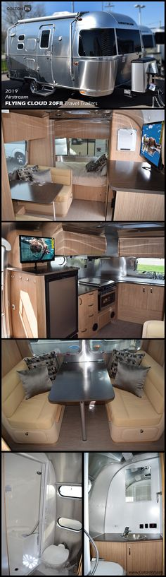 Load up your family, your camping gear and head out in this Airstream Flying Cloud 20FB travel trailer! Inside this RV you will find a unique rear kitchen with all the amenities you need and a booth dinette that converts into a bed. Enjoy your view from the panoramic windows or draw the blinds to spend the day in cozy seclusion. In the evening plan to stay outside just a bit longer and visit with your family while sitting under the patio awning with LED dimmable light. Tiffin Motorhomes, Motorhomes For Sale, Class A Motorhomes, Trailers For Sale, Airstream Flying Cloud, Grand Design Rv, Airstream Travel Trailers, Fifth Wheel Campers, Keystone Rv