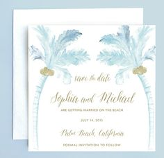 Beach Wedding Save the Date Palm Tree Save the by LeveretPaperie