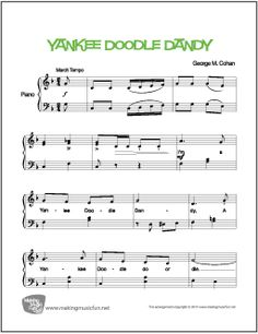 I'm a Yankee Doodle Dandy - Easy Piano Sheet Music (Digital Print) - Visit MakingMusicFun.net for free sheet music, music theory worksheets, and composer resources.