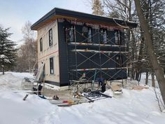 The second phase of the Lake Vernon project is almost finished getting its winter coat on. Project Lake Vernon Cottage Construction by: Engineering by: Vernon, Winter Coat, Contemporary Design, Two By Two, Foundation, Engineering, Construction, Cottage, Cabin
